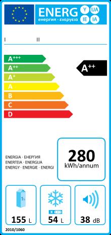 Exemple de la nouvelle étiquette énergie pour un réfrigérateur