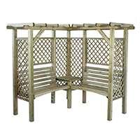 Pergola Milton de coin en bois avec banc pour deux personnes
