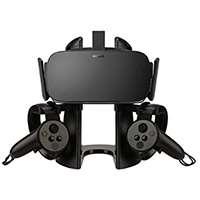 AFAITH Support Stand Casque VR, Présentoir 3D avec Support de contrôleur de Jeu pour Casque Oculus Rift HTC Vive Oculus Rift Samsung Gear VR (Noir)