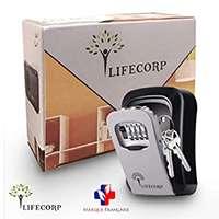 LIFECORP Boite a clef de rangement des clés ultra sécurisé par LIFECORP, pour clefs de maison et de voiture -Coffre fort mural robuste avec code a 4 chiffres - Installation facile