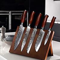 YARENH 5 Pièces Ensembles de Couteaux de Cuisine Professionnel,Couteaux en Acier Japonais Damas,Set Couteau Damas Japonais Contient 5 Malette Pro Global Couteau de Chef Cuisine