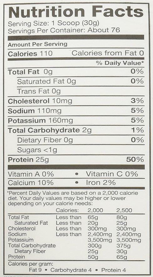 valeurs nutritionnelles de la dymatize iso 100