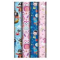 4 rouleaux de papier cadeau – Enfants (les styles et couleurs peuvent varier)