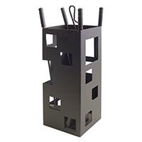 mex El Zorro 10004 Serviteur de cheminée forme carrée 50 x 20 x 20 cm avec accessoires Noir