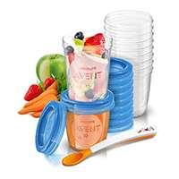 Philips Avent SCF721/20 Pots de conservation 10x180 ml et 10x240 ml avec Couvercles associés et Cuillère de Sevrage