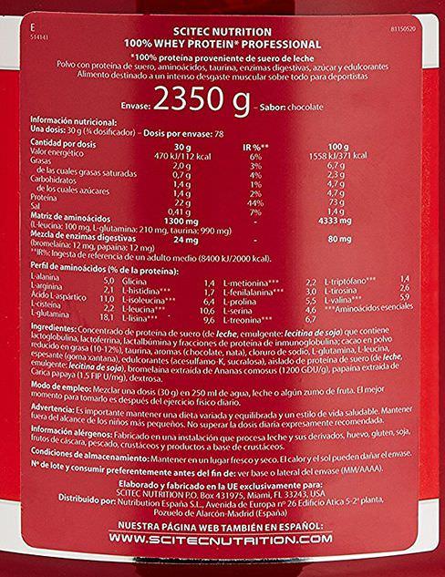valeurs nutritionnelles de la whey protéine de scitec nutrition