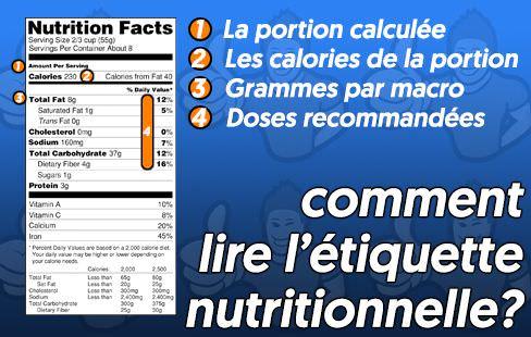 comment lire les valeurs d'une étiquette nutritive